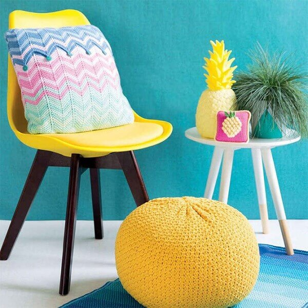Tunisian crochet can be part of different decorative objects