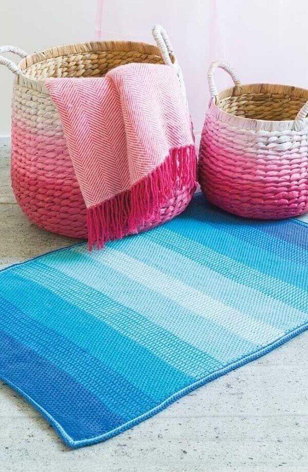 Tunisian crochet rug and blanket