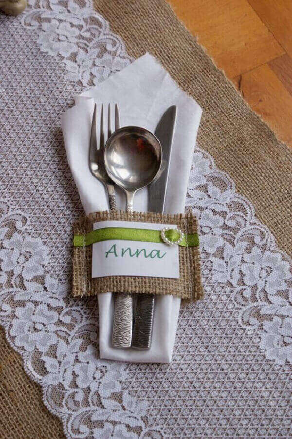 Jute mini cutlery holder with name