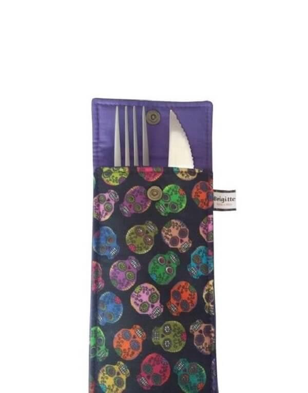 Fabric cutlery holder with skulls design