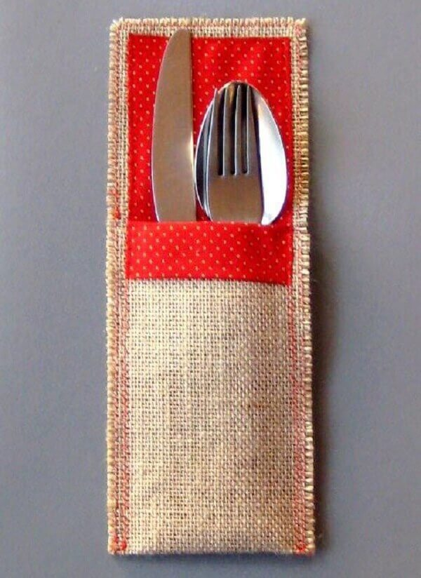 Red tone fabric cutlery holder