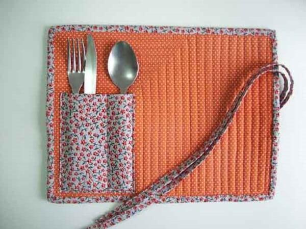 Printed fabric cutlery holder