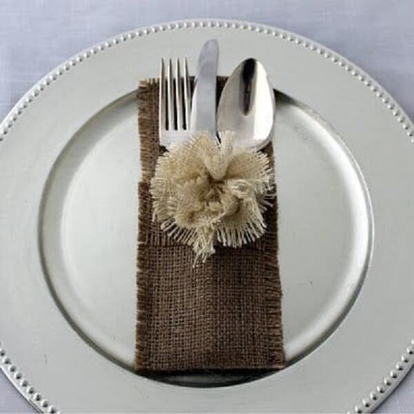 Plain jute cutlery holder