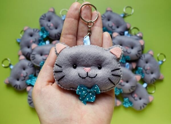 Cat shaped keychain template