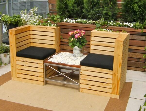 Double pallet bench model for balcony decoration