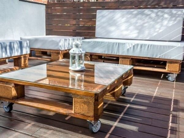 Set of pallet furniture for balcony