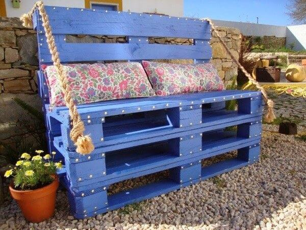 Blue pallet bench model with upholstery