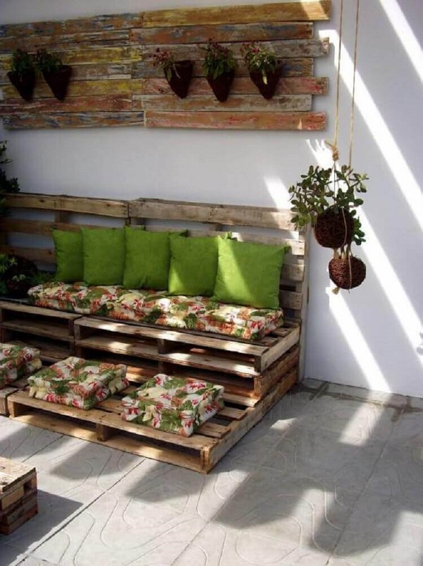 The balcony of this house was decorated with pallets