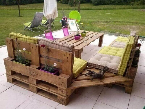 Garden decorated with pallets