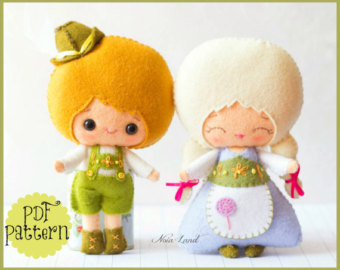 Felt pattern to make characters sold by Noialand on Etsy