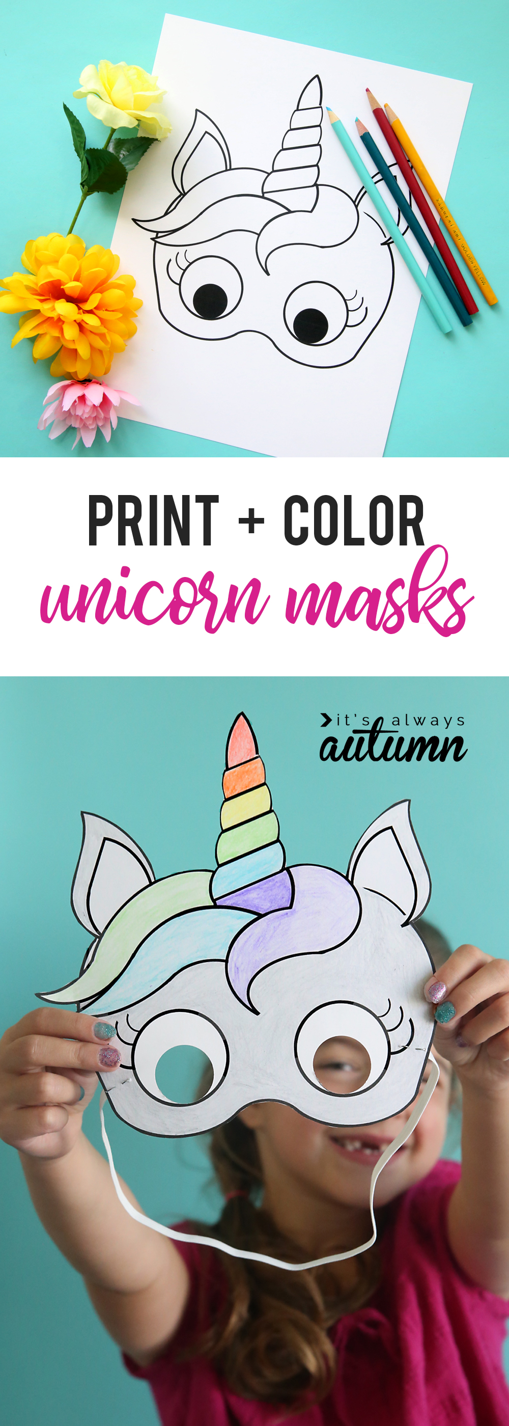 DIY halloween mask in the shape of a unicorn