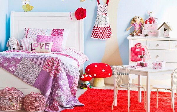 Patchwork quilt in children's room