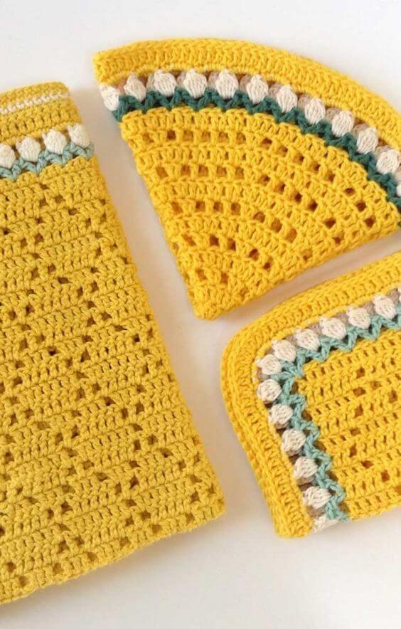 Guardanapo de crochê amarelo para casa moderna