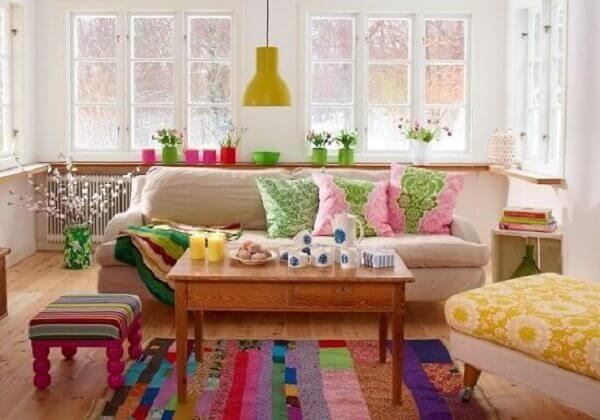 Colorful patchwork rug made using the patchwork technique