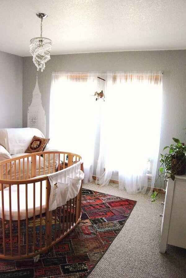 The retail carpet brings color to the baby room