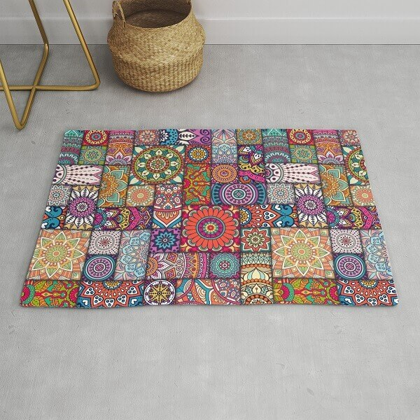 Different mandalas form a beautiful patchwork rug