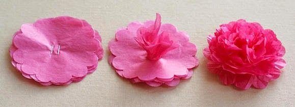 Aprenda outro tipo de flores de papel de seda passo a passo para fazer