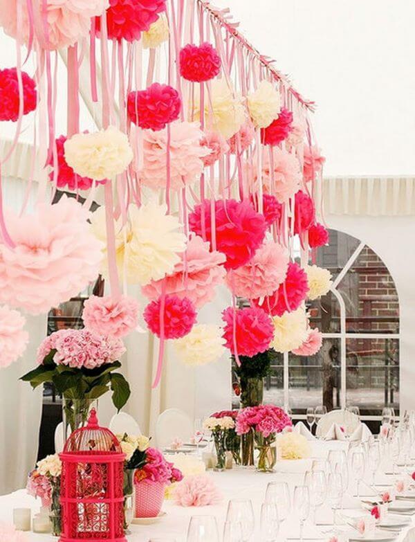 Decore sua festa com a flor de papel de seda fácil