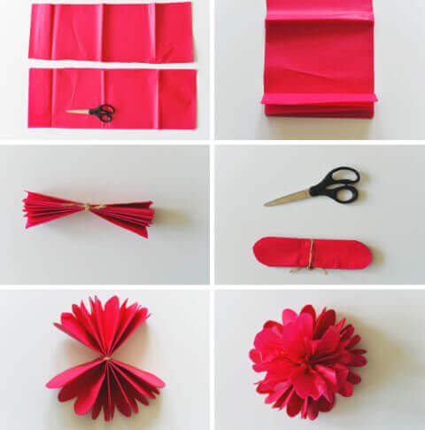 Flor de papel de seda, aprenda como fazer