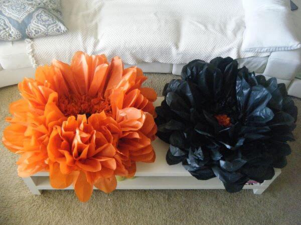 Flores de papel de seda grandes para decorar casa