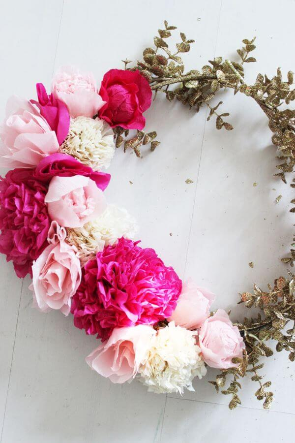 Flores de papel de seda para decorar casa moderna