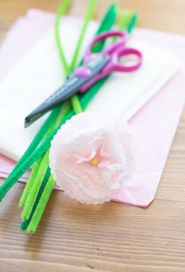 Decore sua casa com flor de papel de seda