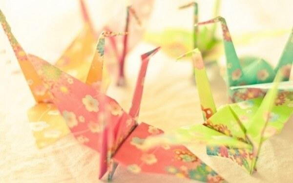 Origami fácil pássaro colorido