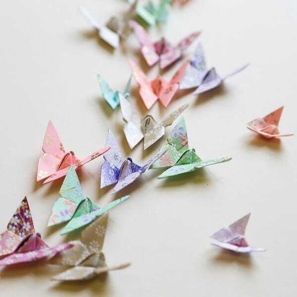 Origami fácil borboletas estampadas