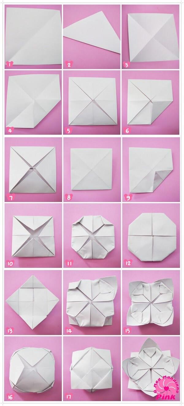 Origami fácil flor de lótus passo a passo