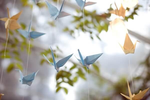 Origami fácil pássaro azul