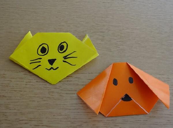 Origami fácil gato e cachorro