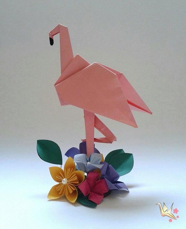 Origami fácil centro de mesa flamingo