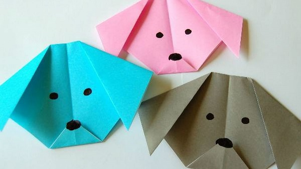 Origami fácil cães coloridos