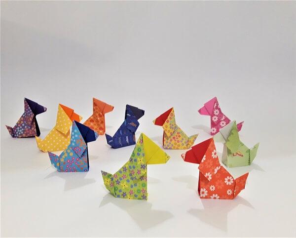 Origami fácil cachorros estampados