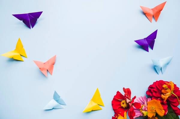 Origami fácil borboletas coloridas