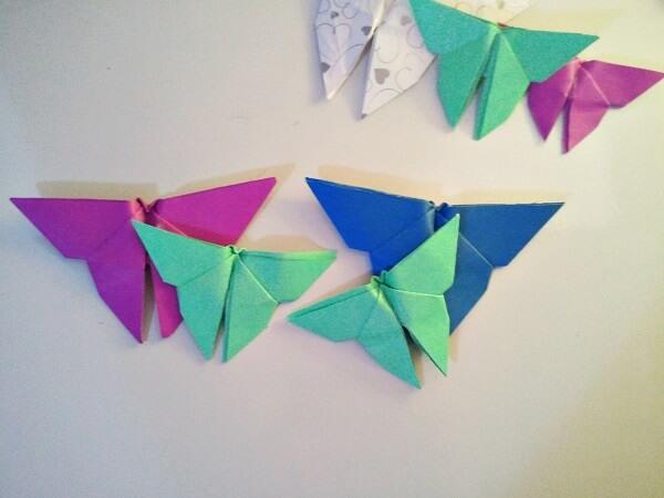 Origami fácil borboleta verde e azul