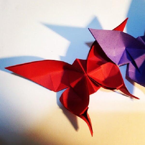 Origami fácil borboleta vermelha