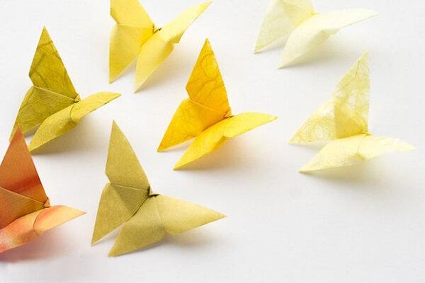 Origami fácil borboleta amarela