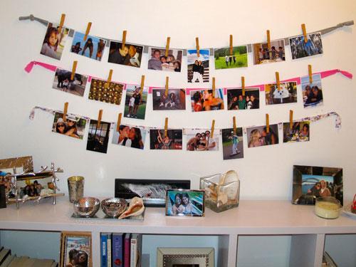 Varal de fotos em tecidos