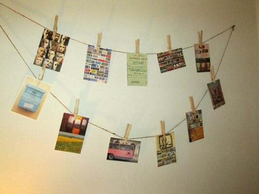 Varal de fotos com postais