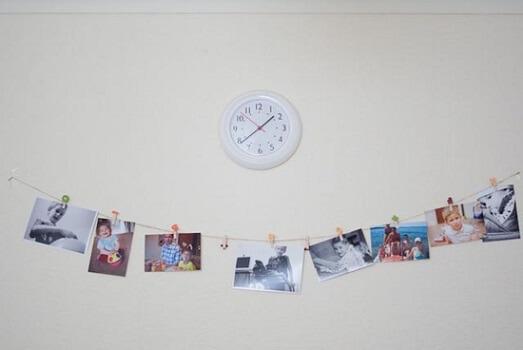 Varal de fotos de crianças