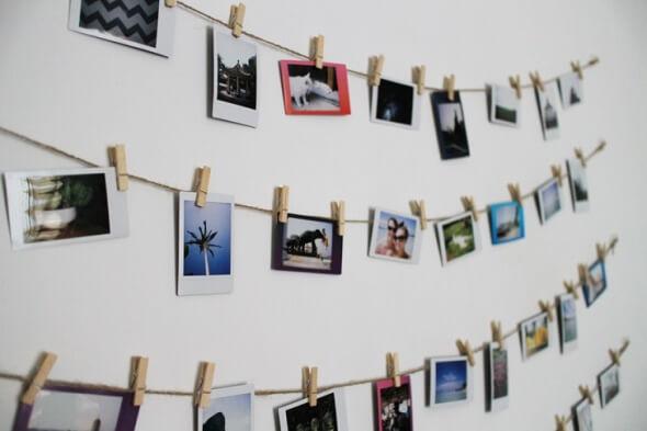 Varal de fotos de vários momentos