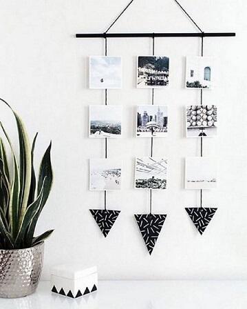 Varal de fotos com triângulos