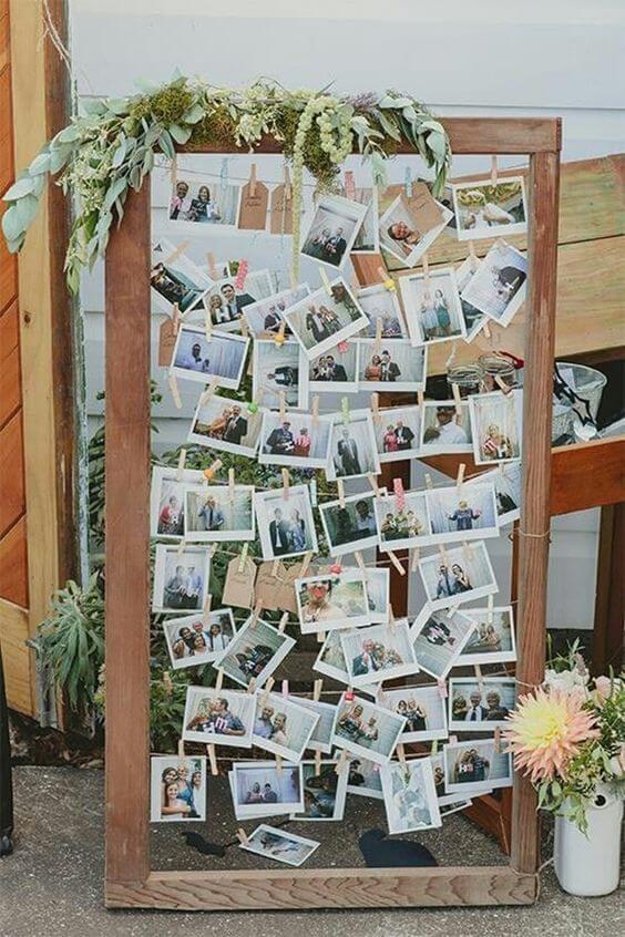 Varal de fotos em festa de casamento