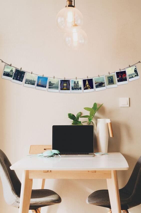 Seu escritório pode ficar muito mais bonito com o varal de fotos