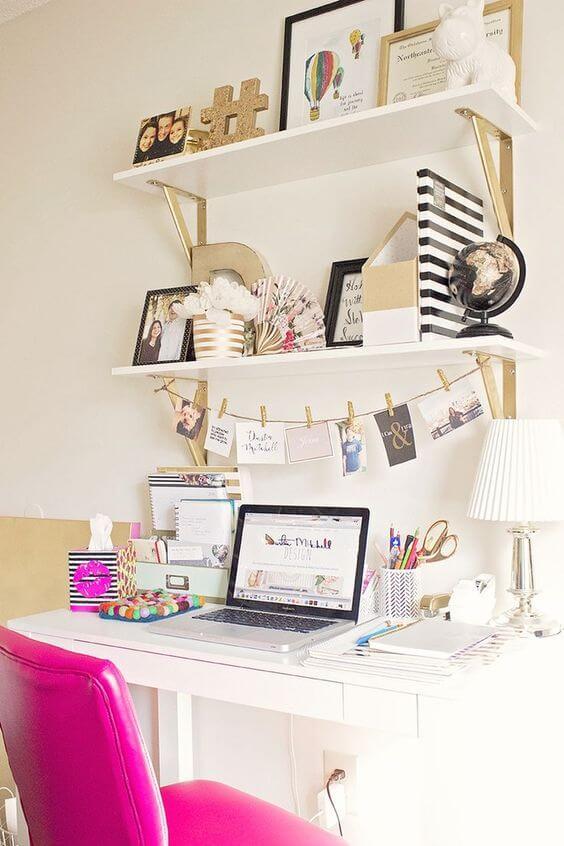 Decore seu home office com varal de fotos