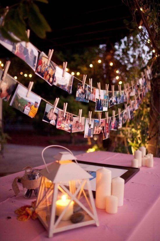 Varal de fotos para decorar festas