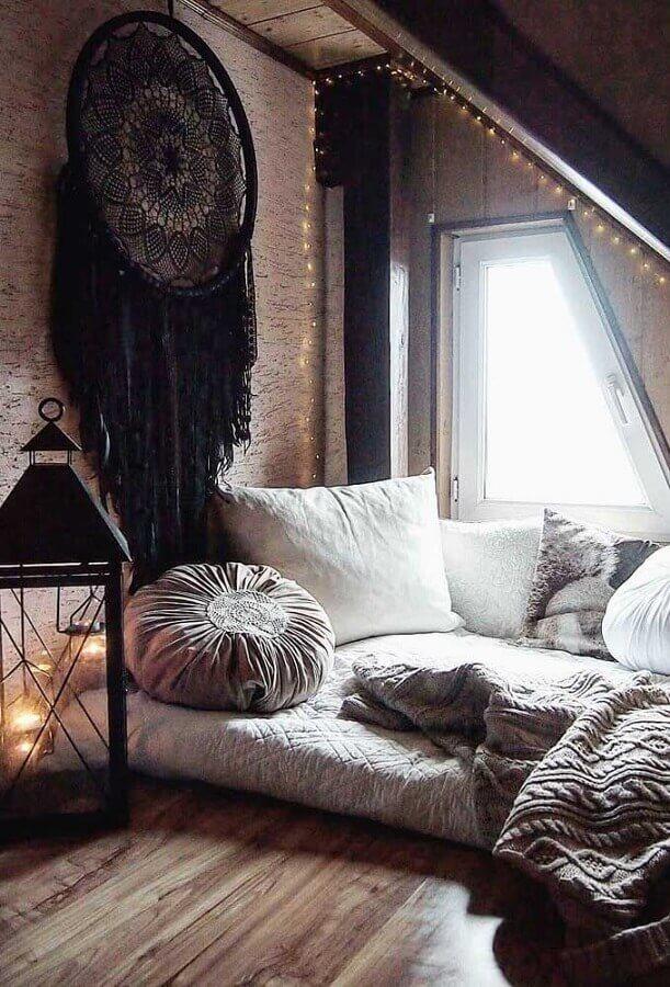 decoração boho para quarto com grande filtro dos sonhos preto Foto We Heart It