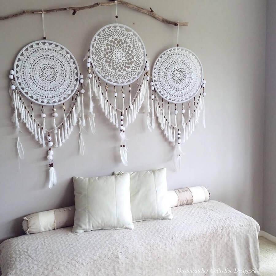 quarto decorado com filtros dos sonhos brancos Foto Pinterest