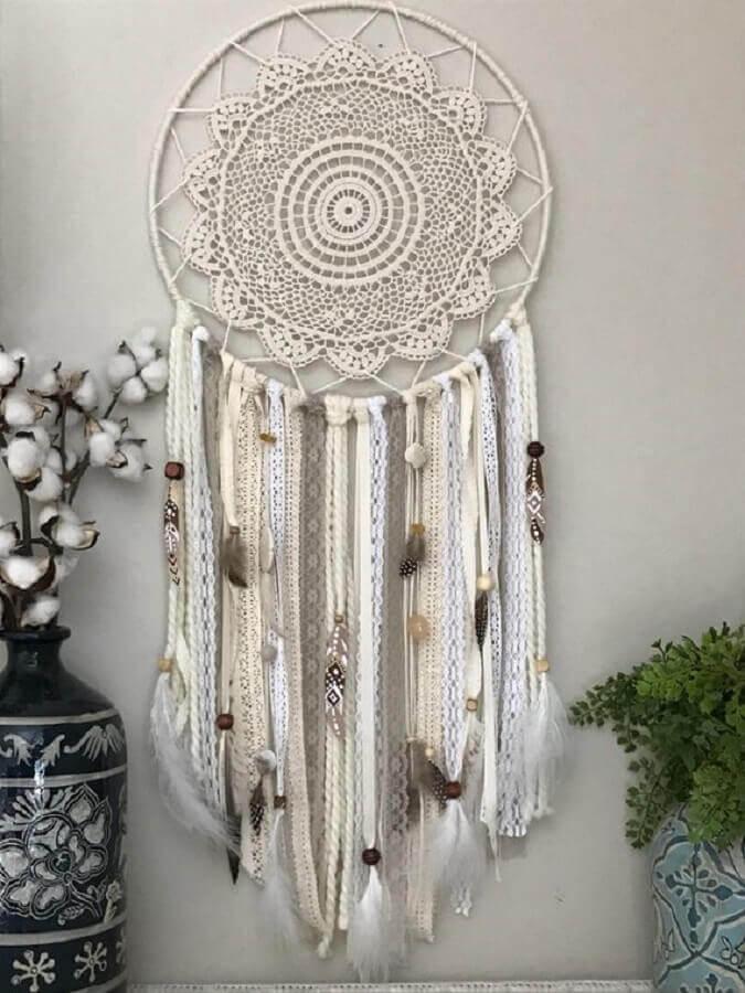Filtro dos sonhos branco de crochê Foto Etsy